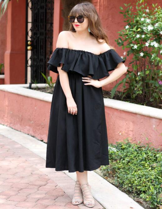 Choies black off the shoulder midi dress-2