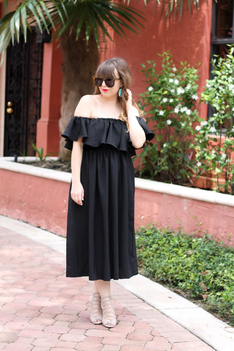 Choies black off the shoulder midi dress-4