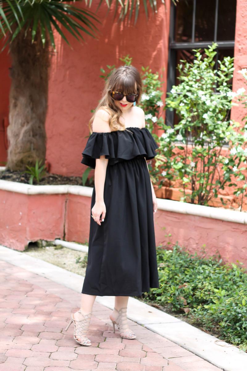 Choies black off the shoulder midi dress-5