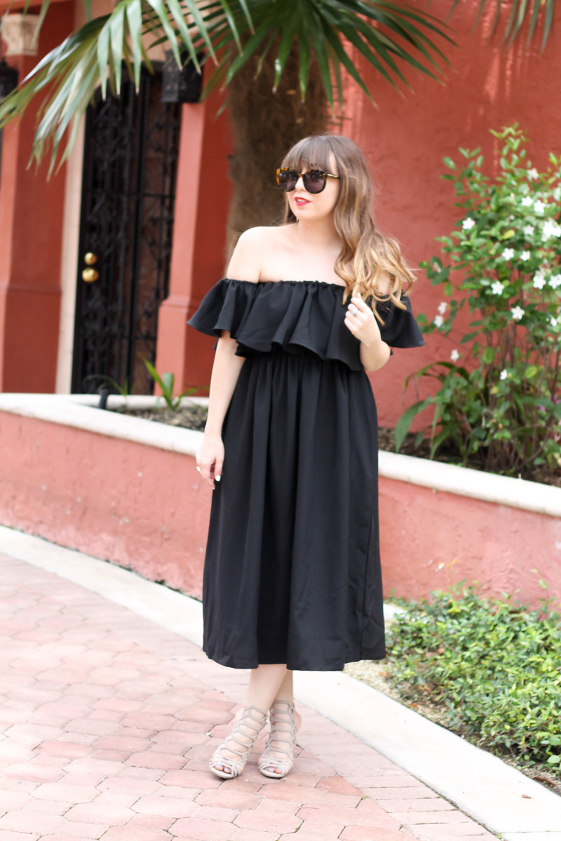 Choies black off the shoulder midi dress