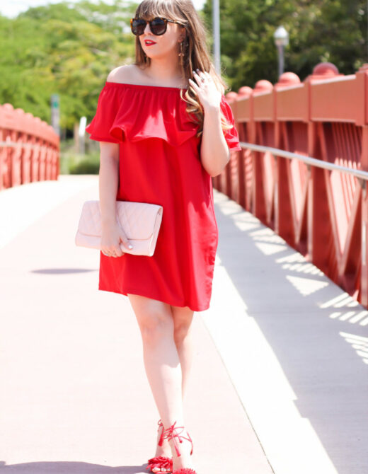Choies off the shoulder red dress-3