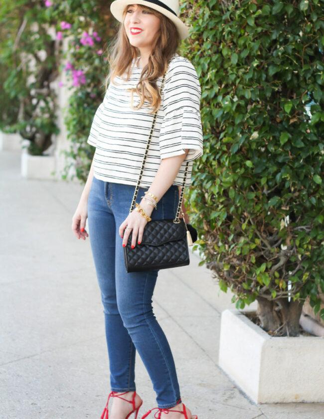 Stripe ruffle sleeve top + jeans_-7
