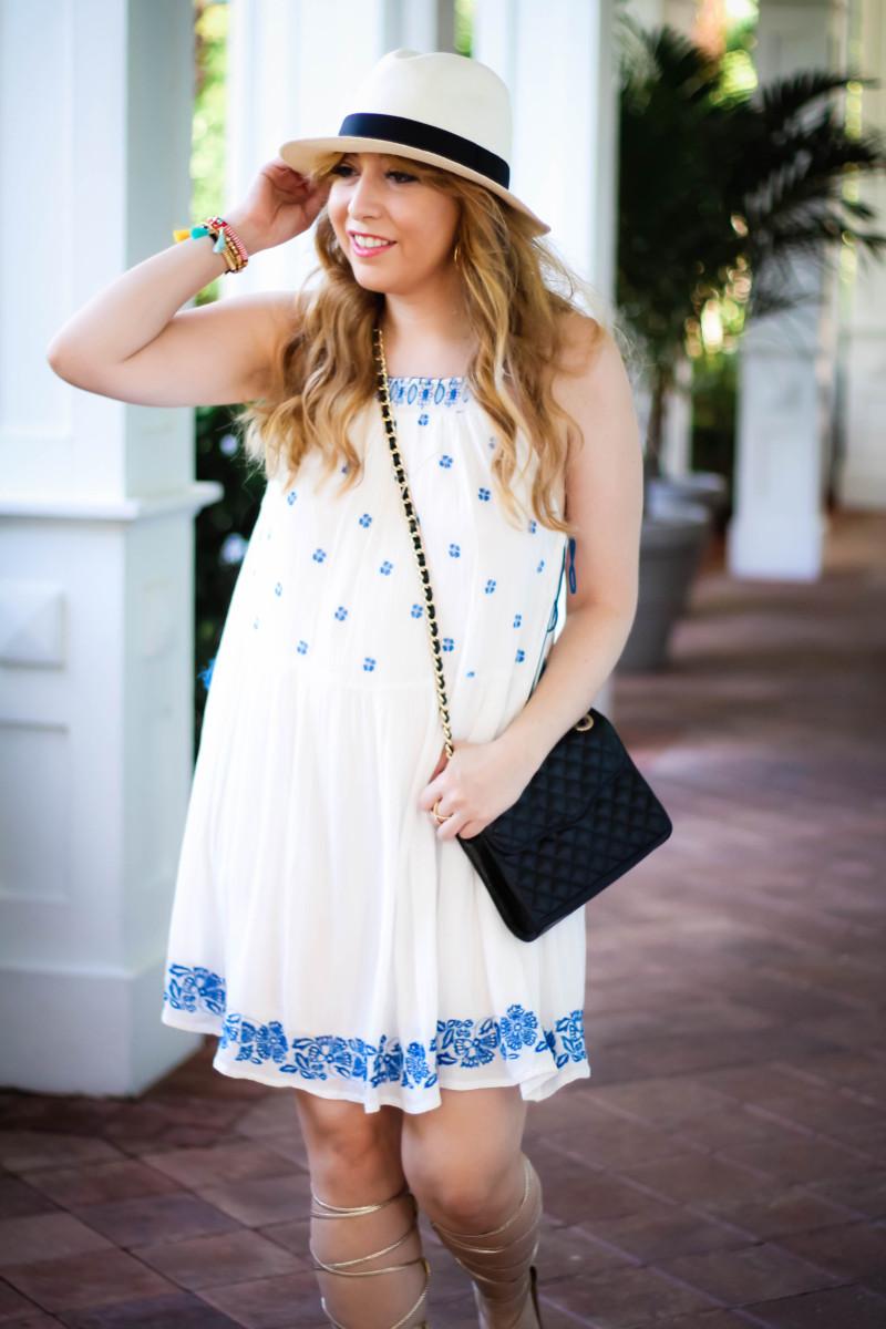 Aqua embroidered dress-2