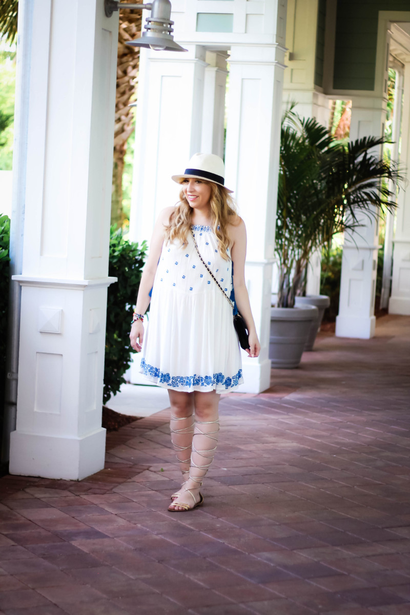 Aqua embroidered dress-3