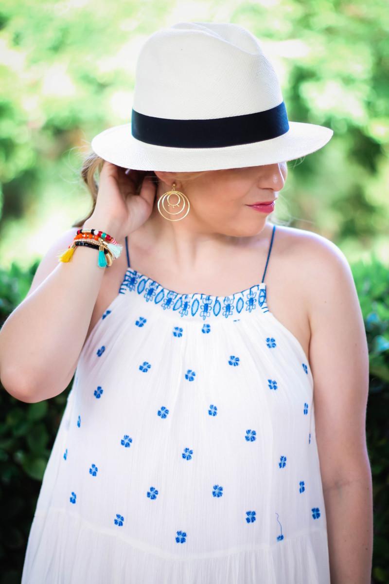 Aqua embroidered dress-5