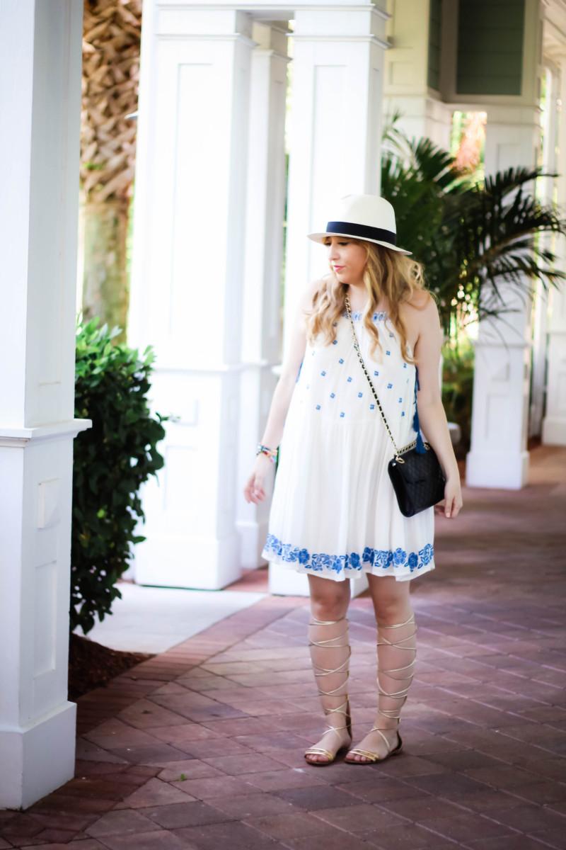 Aqua embroidered dress-7