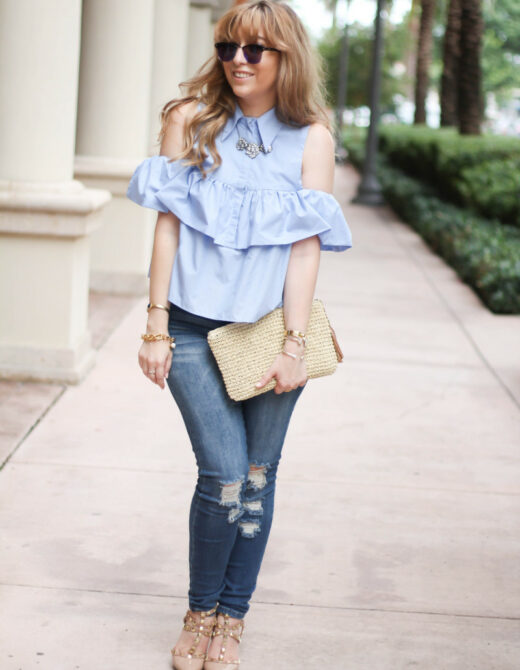 Choies ruffle top + jeans