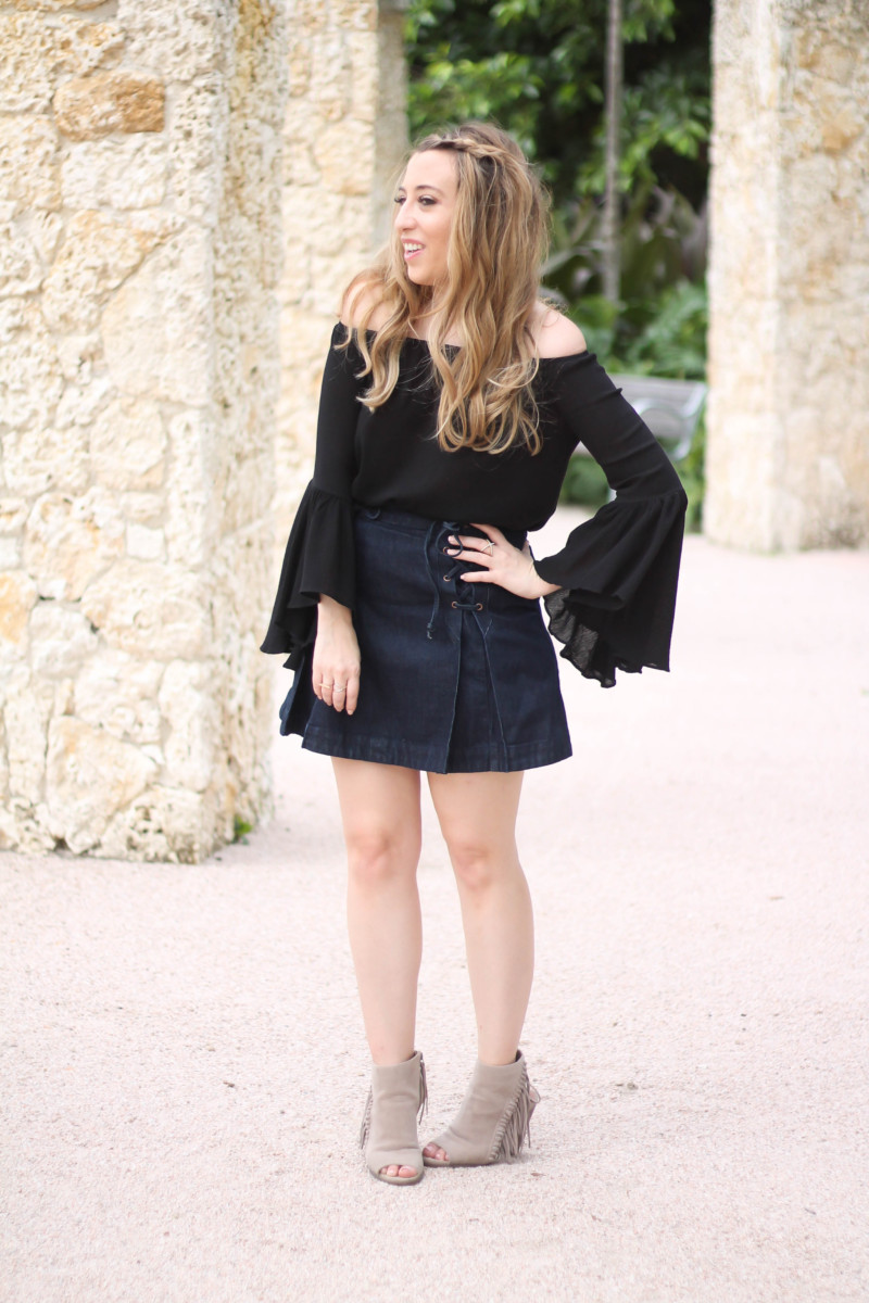 Shein black off the shoulder bell sleeve top + Free People lace up denim skirt-3