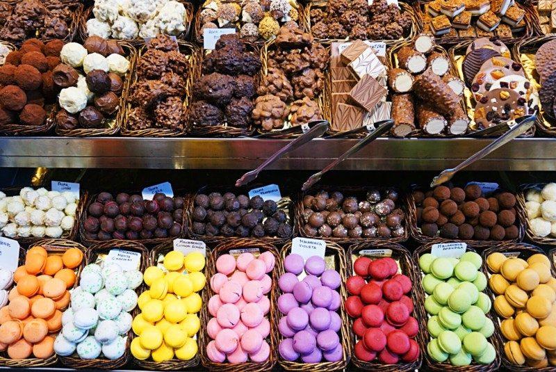 Macarons and goodies at the St Josep la Boqueria mercado in Barcelona.
