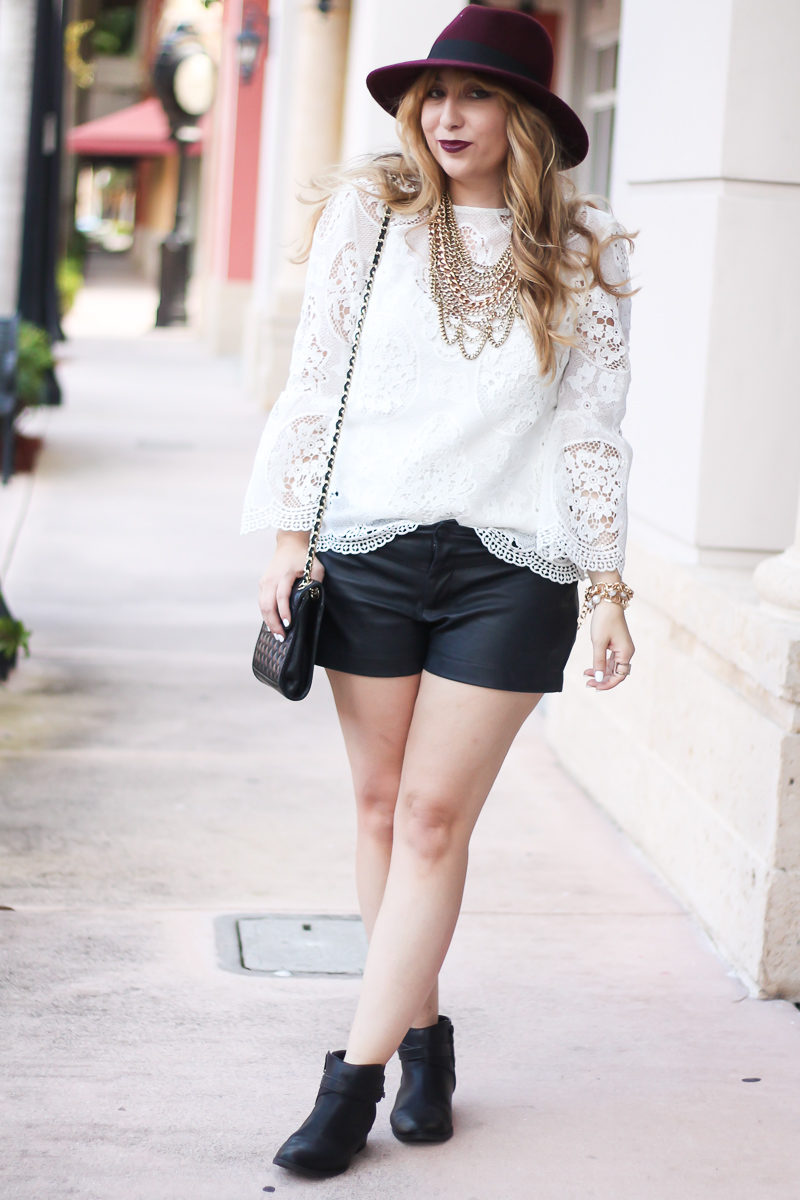 choie-white-lace-bell-sleeve-top-leather-shorts-target-maroon-felt-fedora-lc-lauren-conrad-booties-rebecca-minkoff-quilted-mini-affair-bag-2-of-16