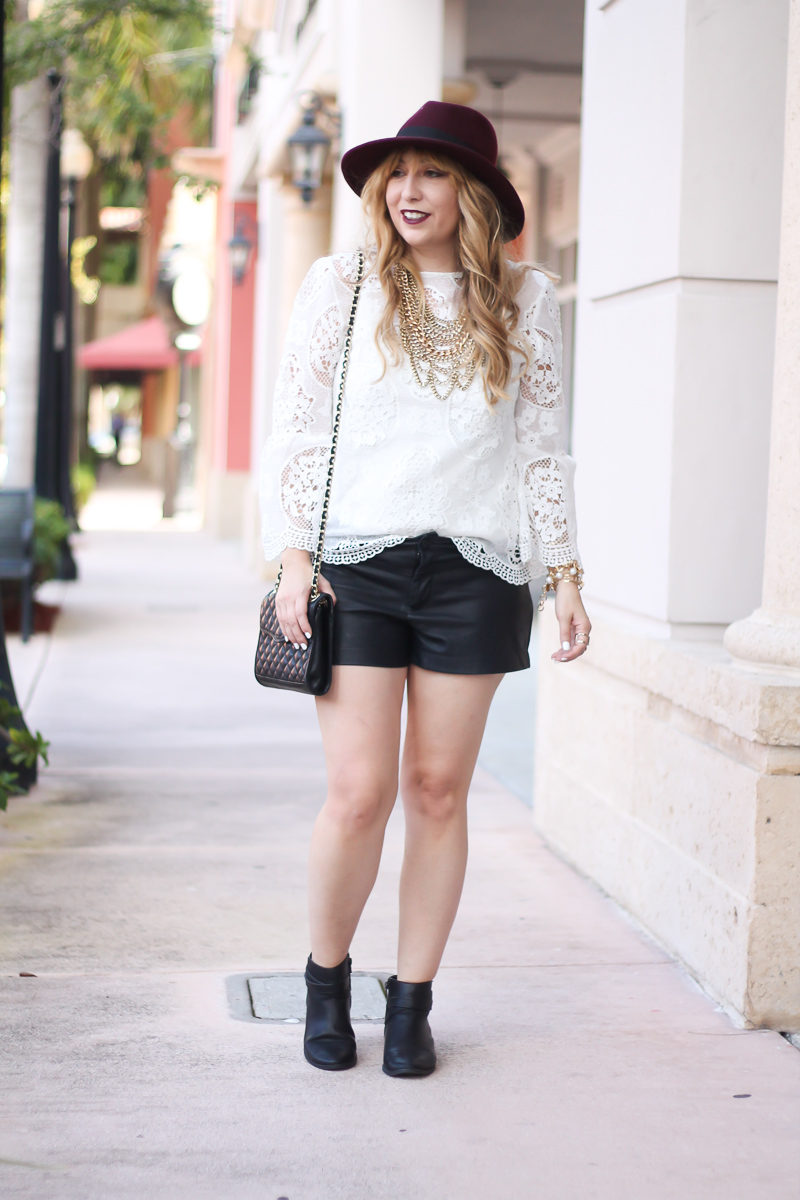 choie-white-lace-bell-sleeve-top-leather-shorts-target-maroon-felt-fedora-lc-lauren-conrad-booties-rebecca-minkoff-quilted-mini-affair-bag-3-of-16