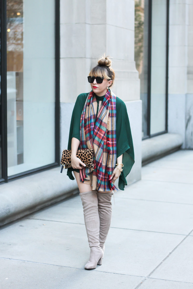 forever-21-green-romper-plaid-blanket-scarf-chinese-laundry-over-the-knee-boots-1-of-9
