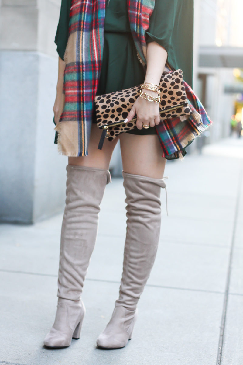 Miami fashion blogger Stephanie Pernas styles Chinese Laundry over the knee boots with a plaid blanket scarf and leopard clutch.