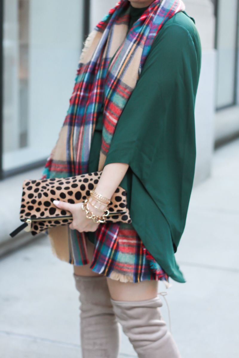 forever-21-green-romper-plaid-blanket-scarf-chinese-laundry-over-the-knee-boots-7-of-9