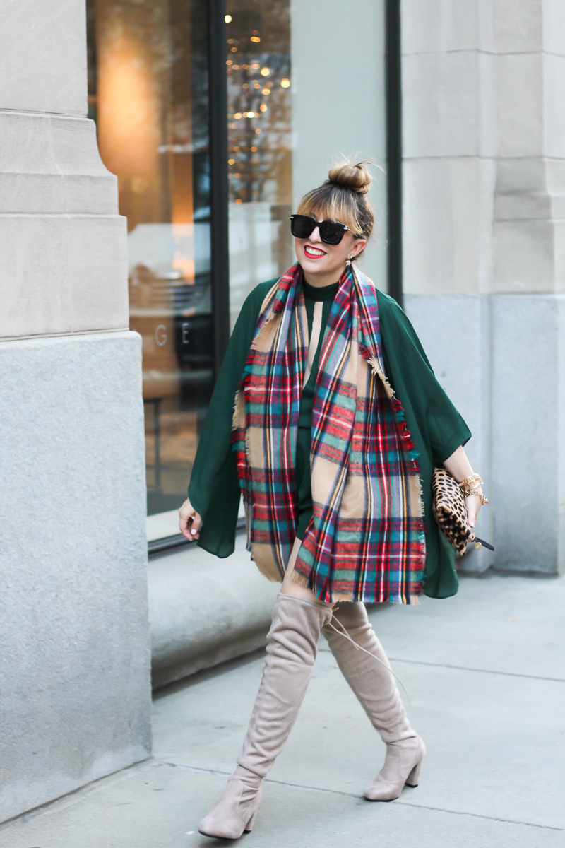 forever-21-green-romper-plaid-blanket-scarf-chinese-laundry-over-the-knee-boots-8-of-9