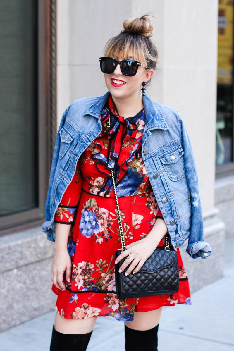 J. Crew Factory jean jacket and Shopbop floral dress