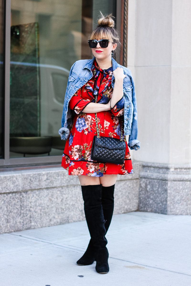 Miami fashion blogger Stephanie Pernas styles a chic fall outfit idea featuring a red floral dress.
