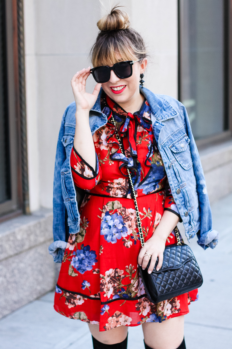 Shopbop red floral dress with J. Crew Factory jean jacket