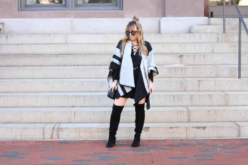 lush-black-dress-ily-couture-stripe-cape-1-of-4