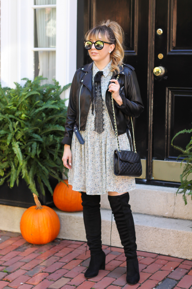 wayf-sleeveless-bow-tie-dress-chinese-laundry-over-the-knee-boots-who-what-wear-leather-jacket-5-of-8