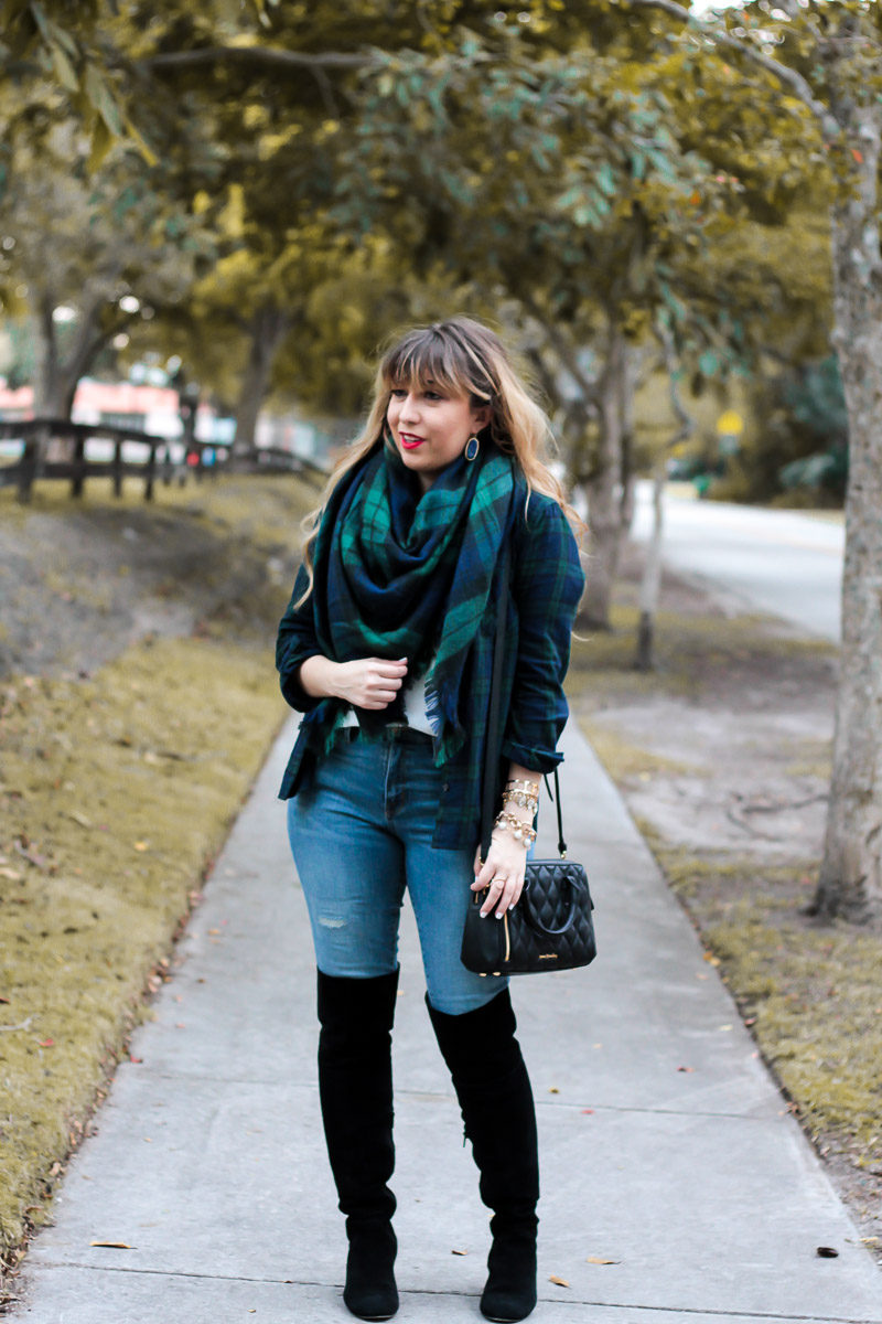 Miami fashion blogger Stephanie Pernas wearing a cozy blanket scarf and over the knee boots