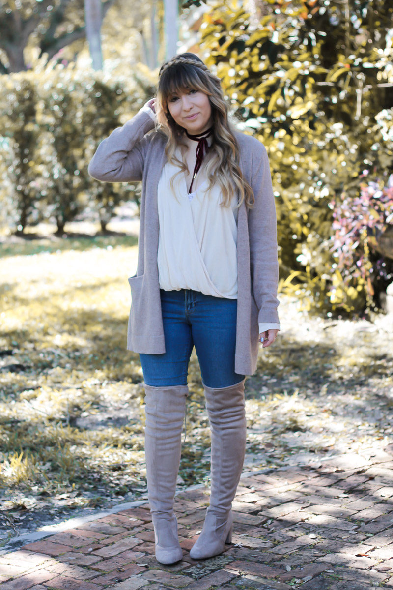 Miami fashion blogger Stephanie Pernas styles a boyfriend cardigan and over the knee boots for a cute and casual Thanksgiving outfit