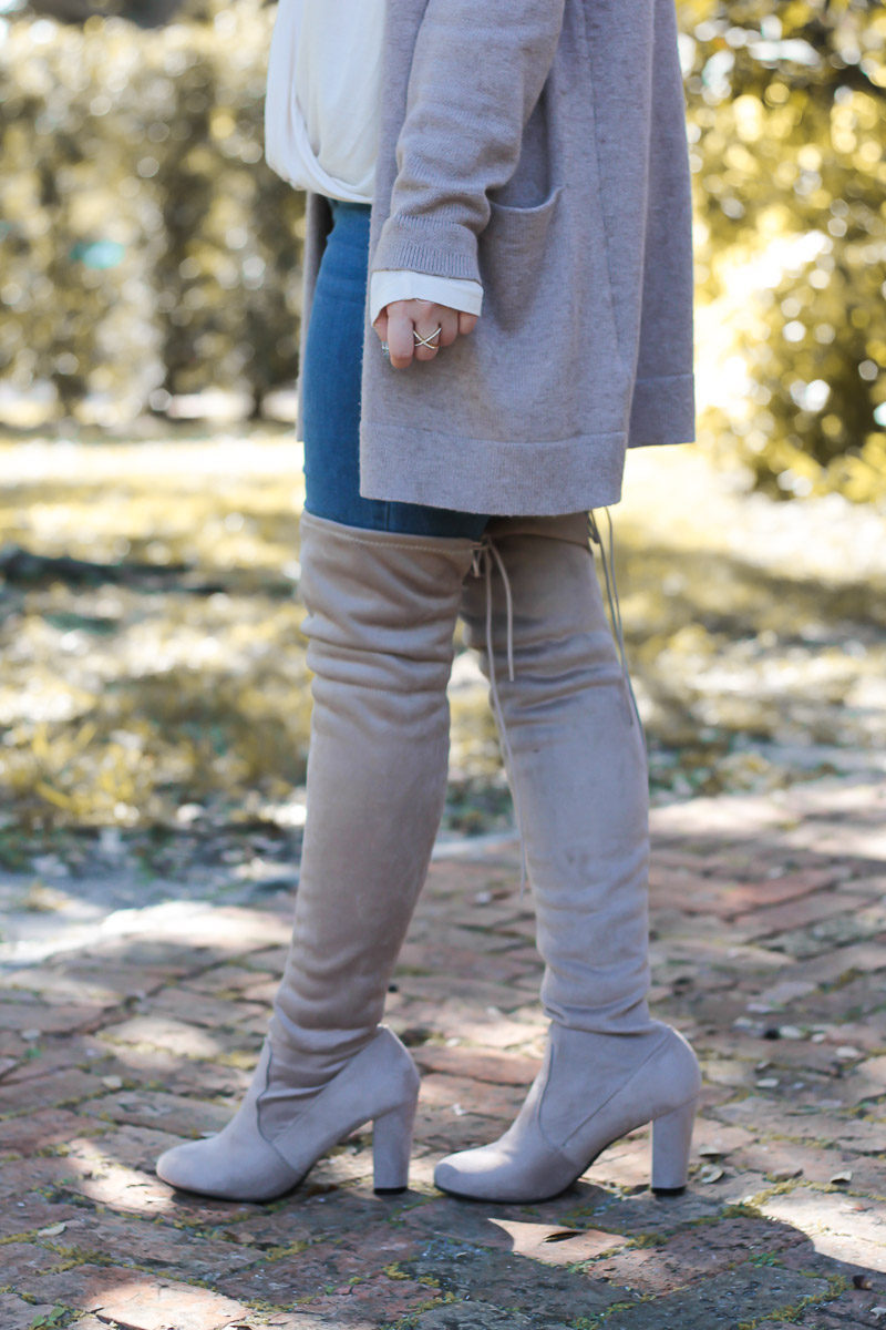 Miami fashion blogger Stephanie Pernas styles a cute fall outfit idea featuring Chinese Laundry over the knee boots