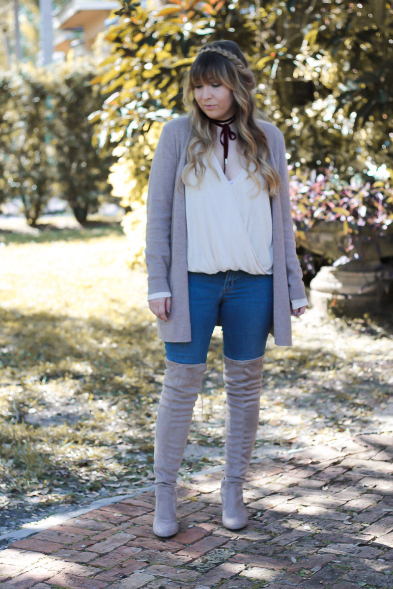 Miami fashion blogger Stephanie Pernas wearing a cute over the knee boots and jeans outfit idea