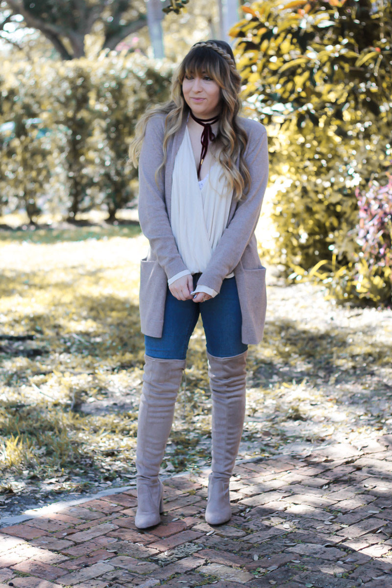 Fashion blogger Stephanie Pernas wearing taupe over the knee boots and jeans