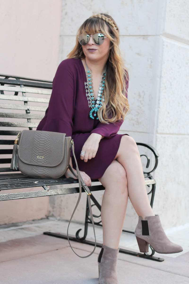 Taupe bag and booties