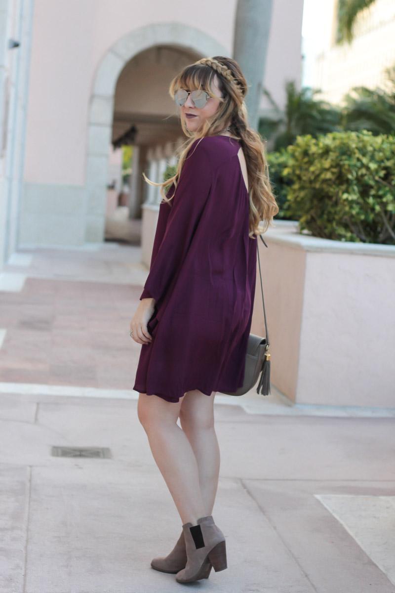Plum bell sleeve dress
