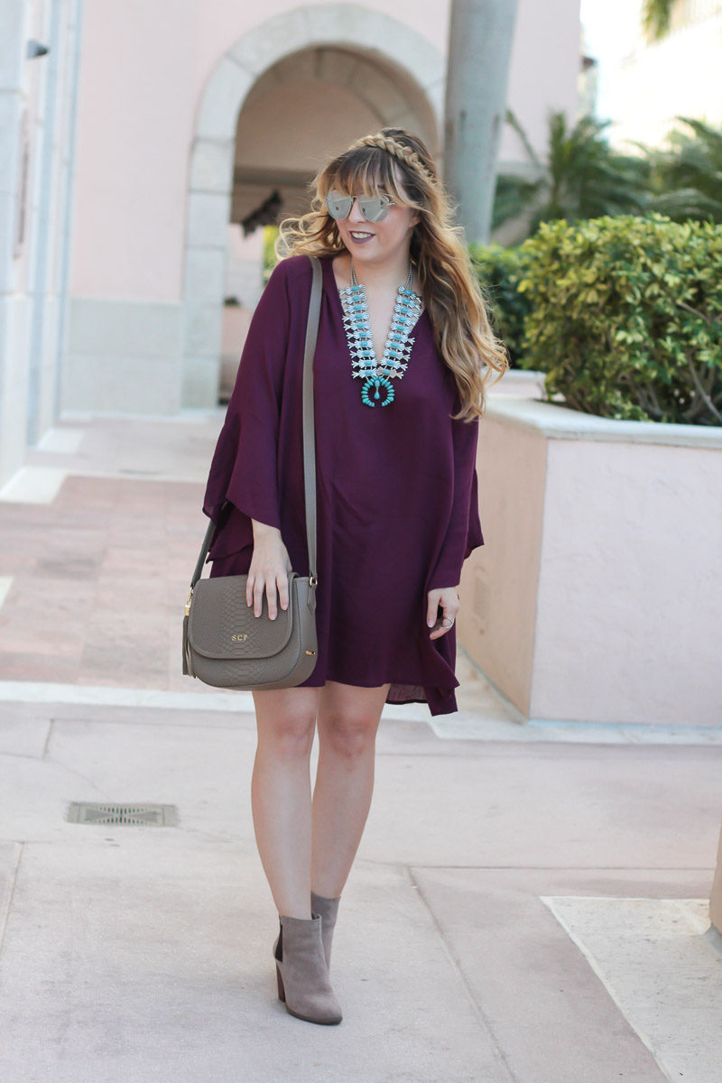 Miami fashion blogger Stephanie Pernas wearing a Lush Whitney bell sleeve shift dress, Baublebar Capri Amulet necklace, GiGi New York Kelly saddlebag and Sole Society Lylee booties for cute fall outfit idea