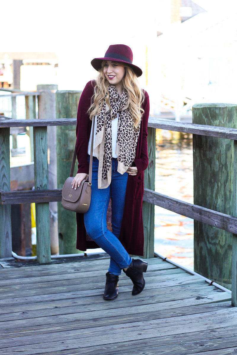 324f7403b7a original post here Miami fashion blogger Stephanie Pernas wearing a wine  colored fedora with a long duster cardigan