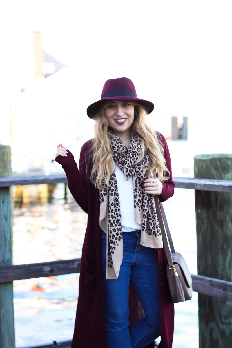 Maroon and leopard fall outfit idea