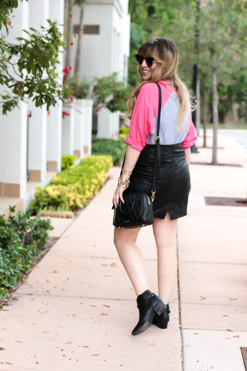 Baseball tee and leather skirt fall outfit idea