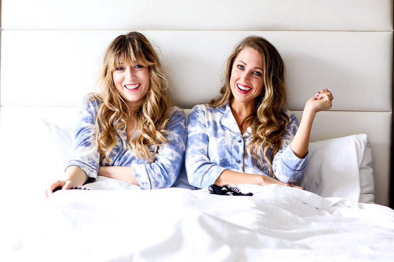 Fashion blogger Stephanie Pernas and Lawren Bagley wearing matching PJ Salvage Desert Dreams pajama sets