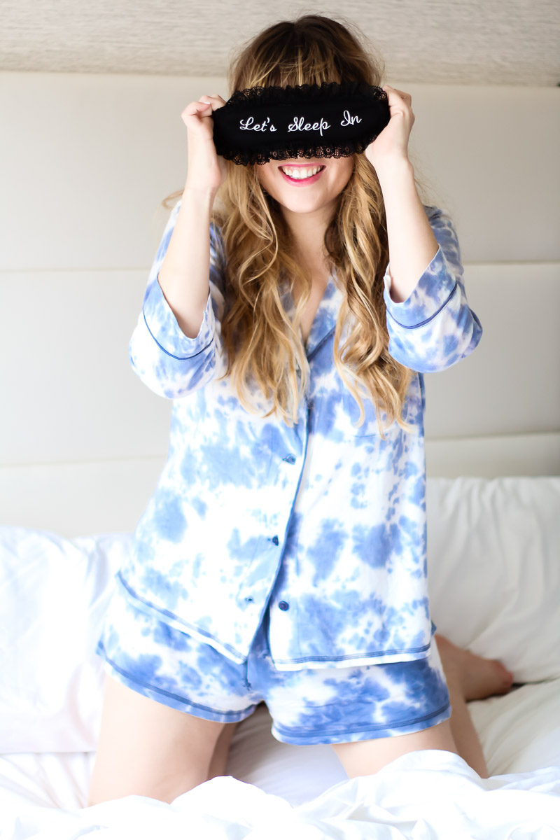 Miami fashion blogger Stephanie Pernas wearing PJ Salvage Desert Dreams pjs and Let's Sleep In eyemask