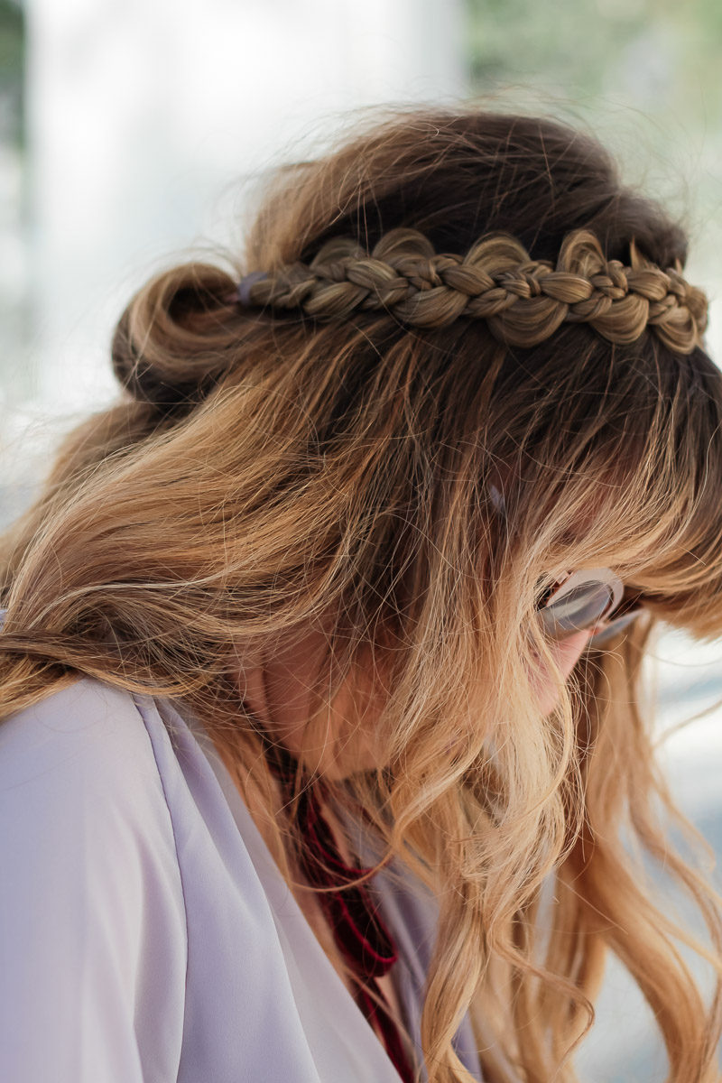Miami fashion blogger Stephanie Pernas wearing a braided headband