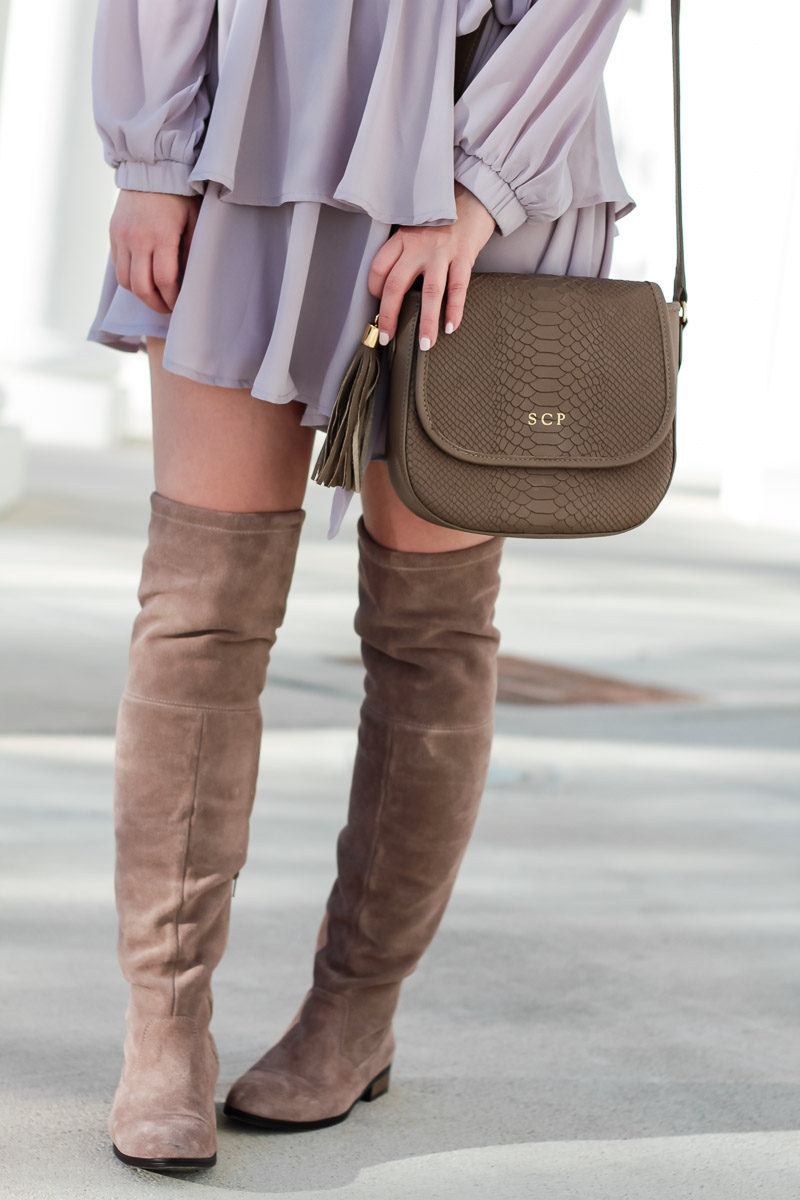 Miami fashion blogger Stephanie Pernas styles the GiGi New York Kelly Saddlebag with Sole Society Valencia over the knee boots
