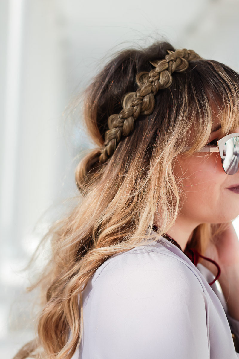 Miami fashion blogger Stephanie Pernas wearing the Just Braydz by Chaya Wreath braid headband