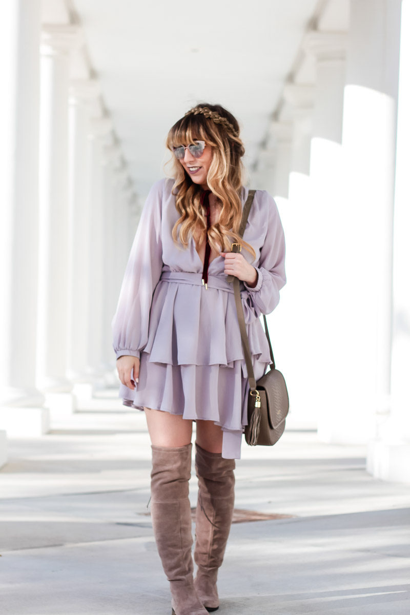Miami fashion blogger Stephanie Pernas wearing a Shopbop gray tiered dress for a chic date night outfit idea
