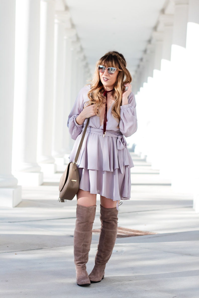 Miami fashion blogger Stephanie Pernas styles Sole Society over the knee boots with a fun gray dress for a cute fall outfit idea