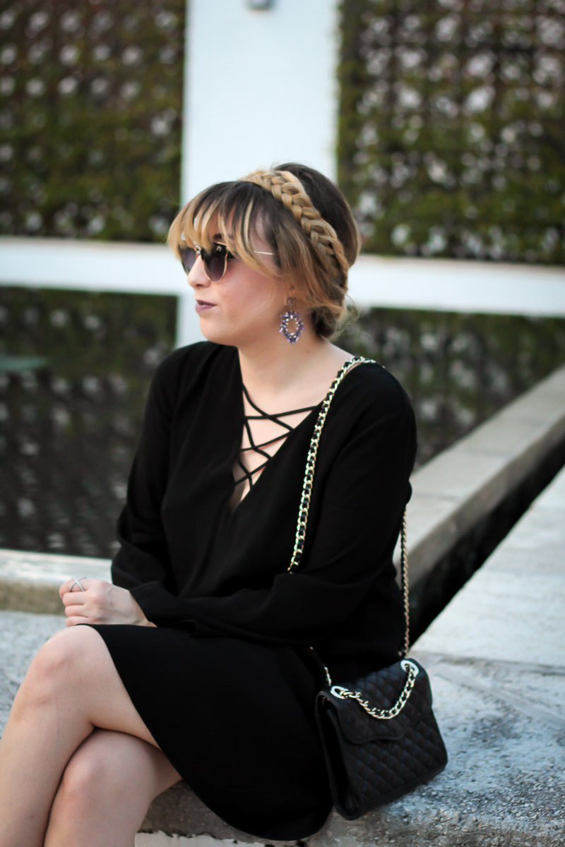Miami fashion blogger Stephanie Pernas wearing a milkmaid braided updo and lace up shift dress