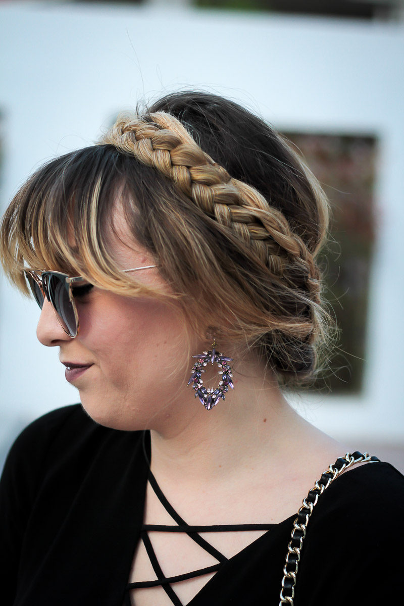 Miami fashion blogger Stephanie Pernas of A Sparkle Factor wearing a braided updo and Baublebar Navaeh Drops earrings