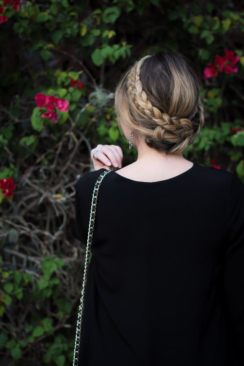 Miami beauty blogger Stephanie Pernas styles a crown braid updo for a pretty fall beauty look