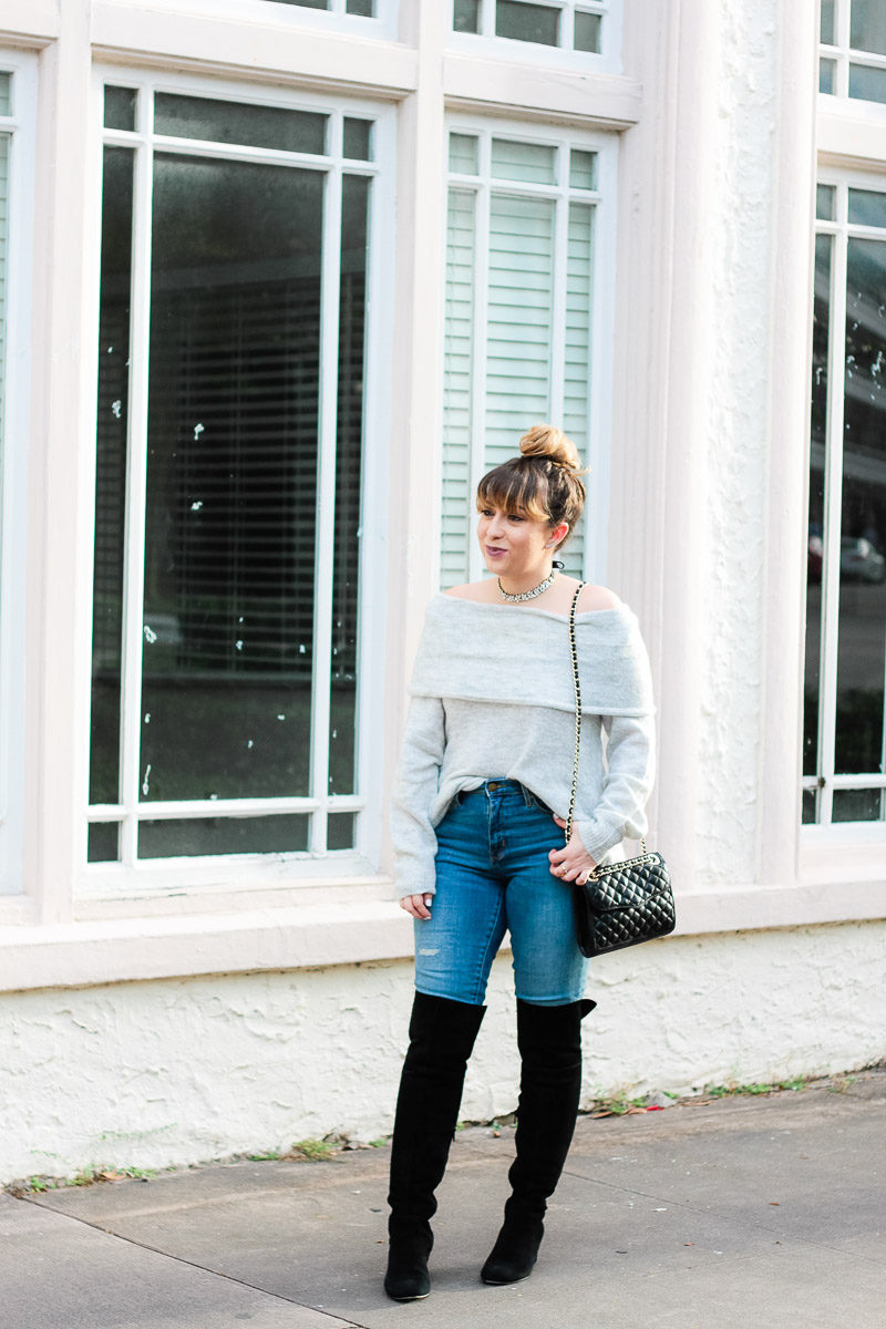 Miami fashion blogger Stephanie Pernas styles an off the shoulder sweater with over the knee boots