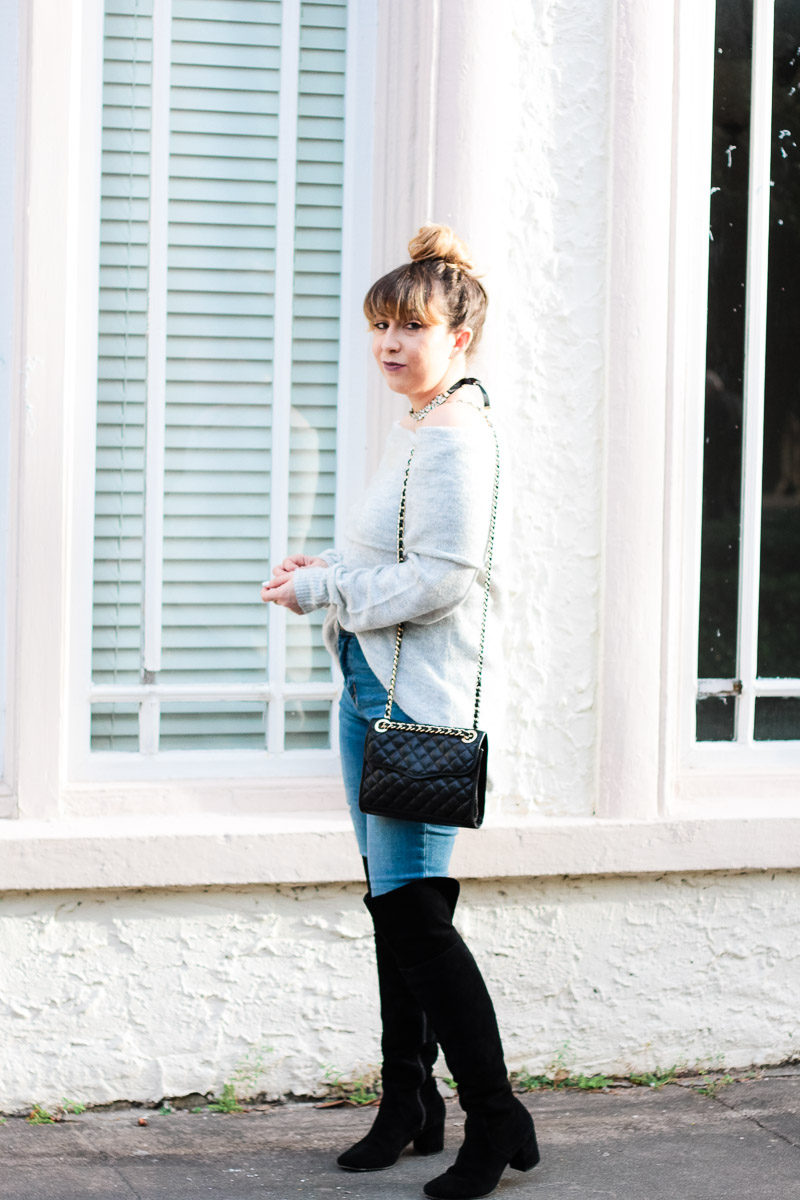 ad16b36aa98 ... Miami fashion blogger Stephanie Pernas wearing a cozy gray sweater and  jeans with over the knee ...