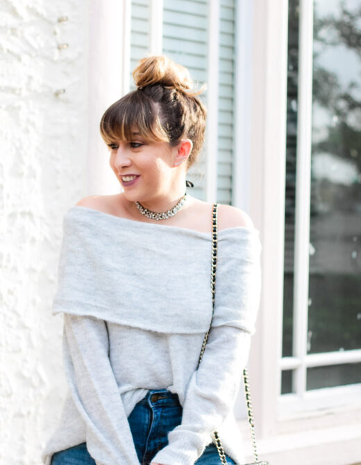 Off the shoulder sweater and choker outfit idea