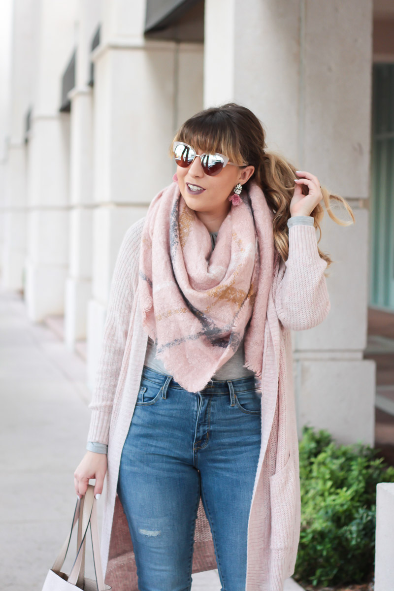 blush blanket scarf and blush boyfriend cardigan fall outfit idea