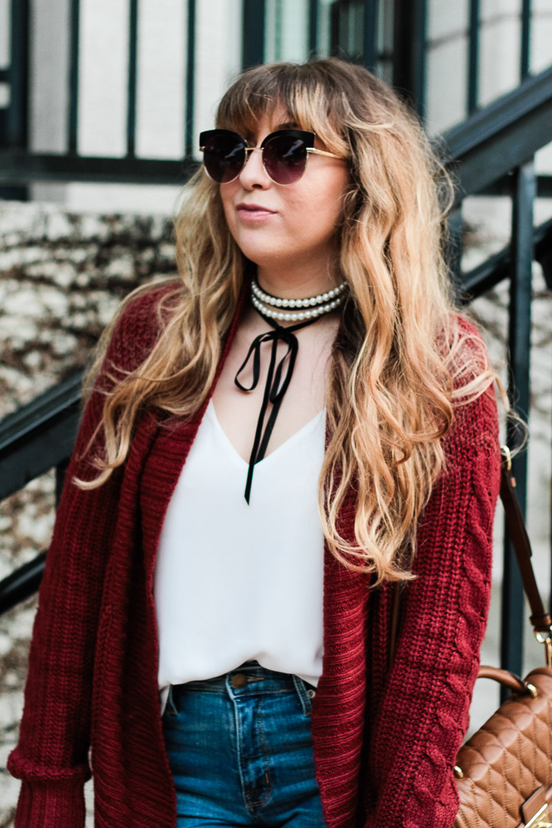 Baublebar Guinevere choker and cardigan outfit